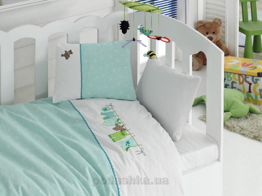 Постельное белье для новорожденных Cotton Box Annem mint с вышивкой