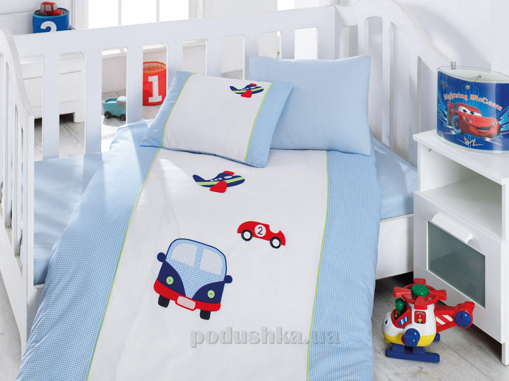 Постельное белье для новорожденных Cotton Box Araba mavi с вышивкой