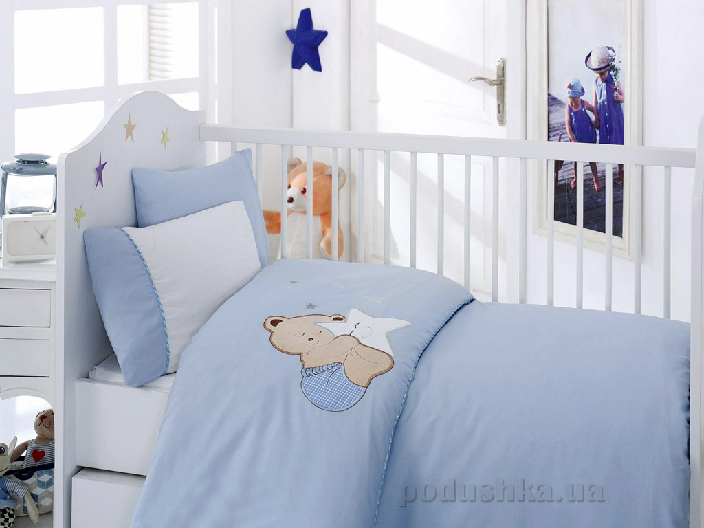Постельное белье для новорожденных Cotton Box Boo Boo mavi с вышивкой