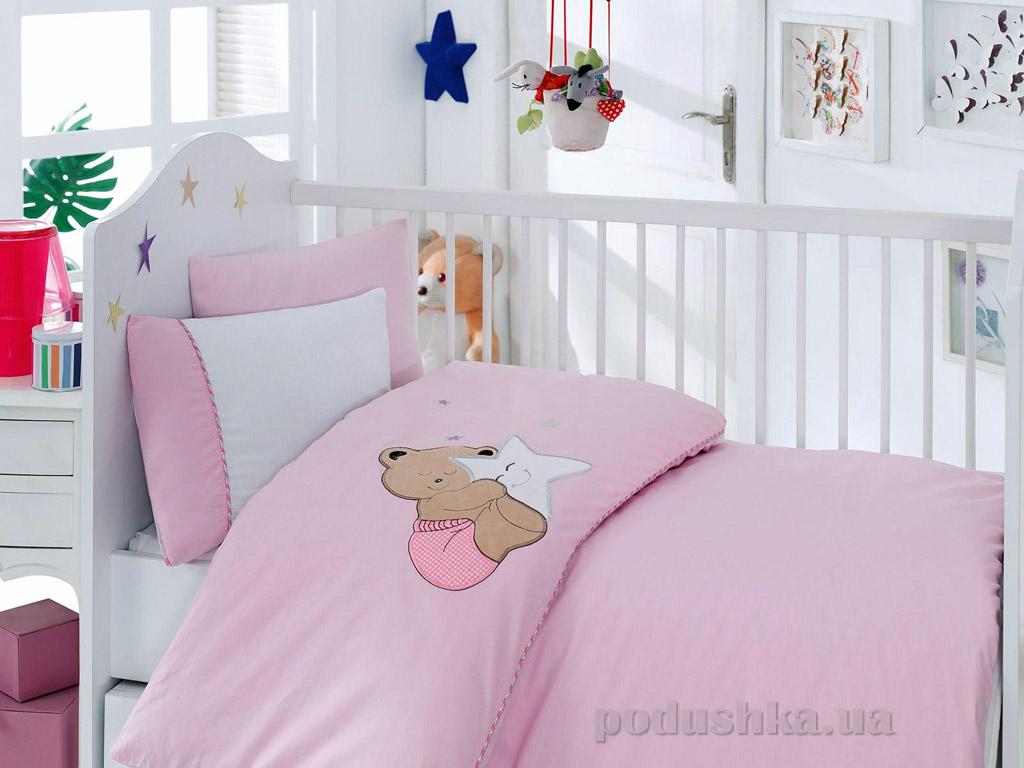 Постельное белье для новорожденных Cotton Box Boo Boo pembe с вышивкой