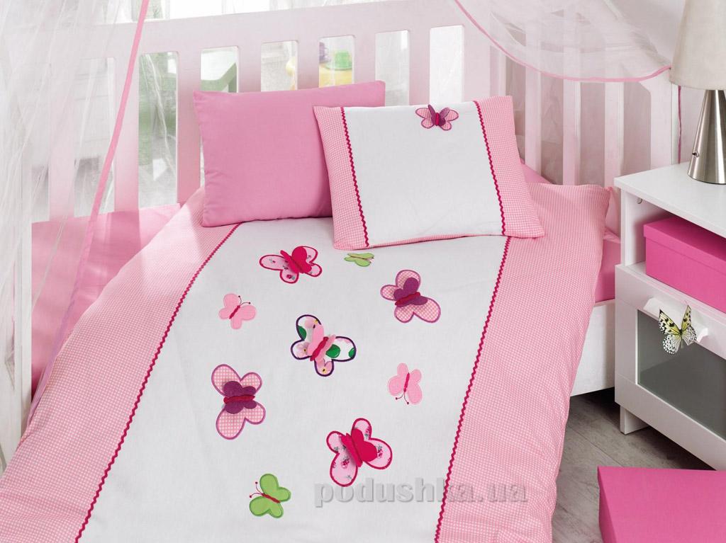 Постельное белье для новорожденных Cotton Box Kelebek pembe с вышивкой