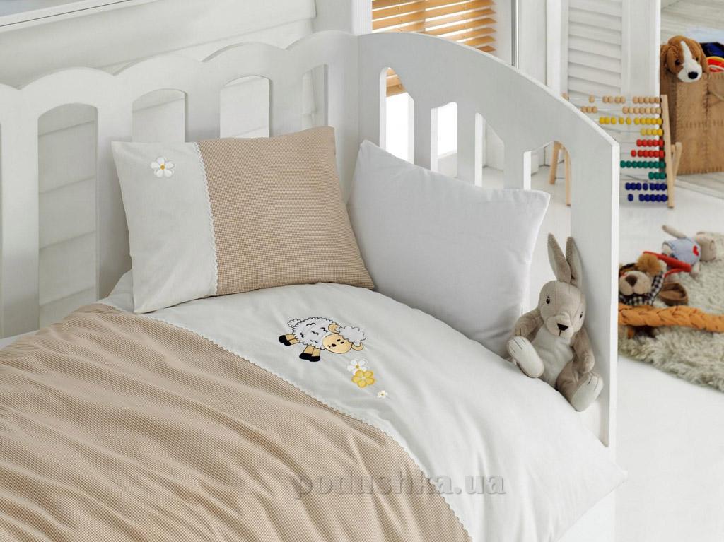 Постельное белье для новорожденных Cotton Box Kuzucuk bej с вышивкой