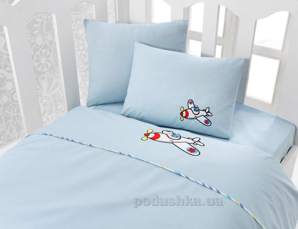 Постельное белье для новорожденных Cotton Box Ucak mavi с вышивкой