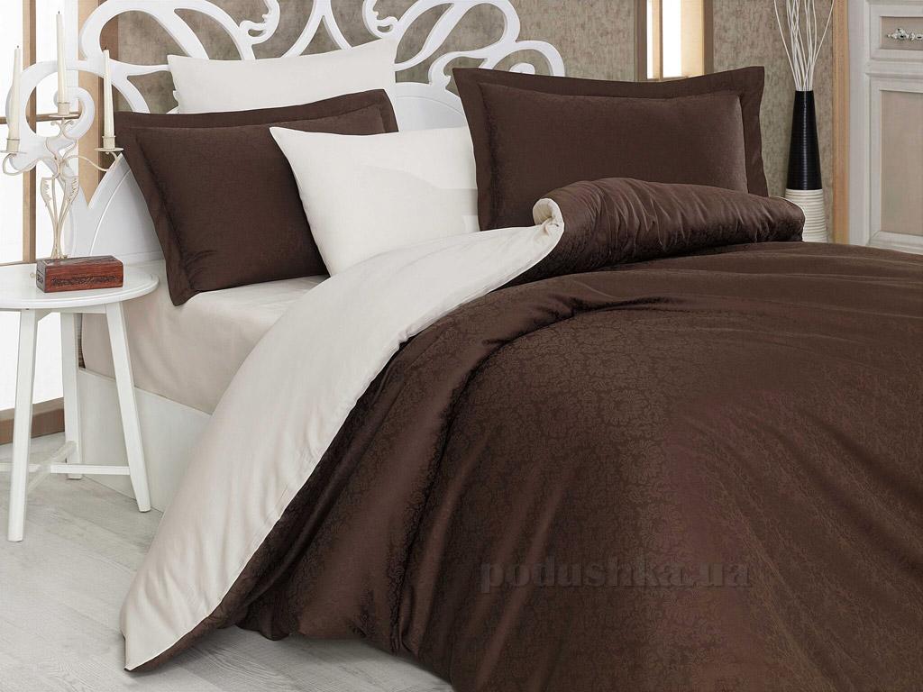 Постельное белье Hobby Diamond Damask коричневый-кремовый