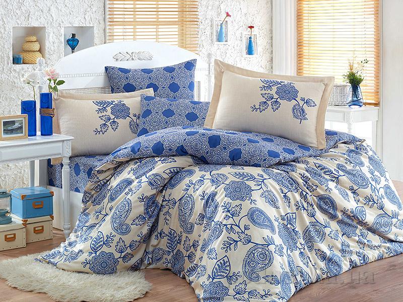 Постельное белье Hobby Exclusive Sateen Antonia синий Двуспальный евро комплект  Hobby