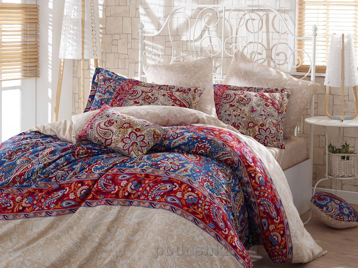 Постельное белье Hobby Exclusive Sateen Caterina красное Двуспальный евро комплект  Hobby