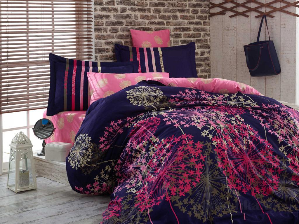 Постельное белье Hobby Exclusive Sateen Fiorella синее Двуспальный евро комплект  Hobby