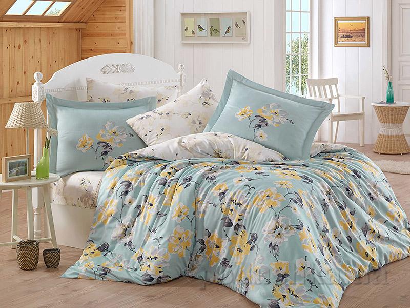 Постельное белье Hobby Exclusive Sateen Lavida голубое Двуспальный евро комплект  Hobby