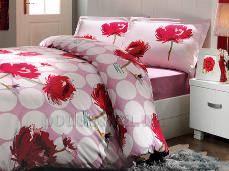 Постельное белье Hobby Exclusive Sateen Leona темно-розовый