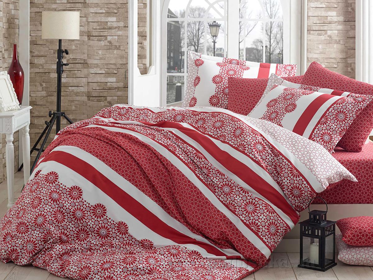 Постельное белье Hobby Exclusive Sateen Lisa красное Двуспальный евро комплект  Hobby