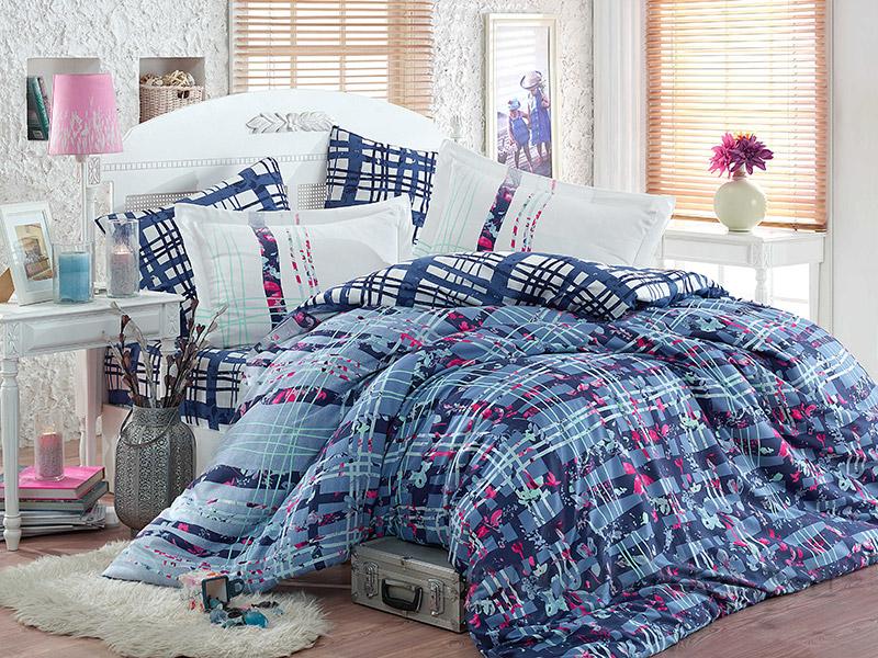 Постельное белье Hobby Exclusive Sateen Lorenza голубое Двуспальный евро комплект  Hobby