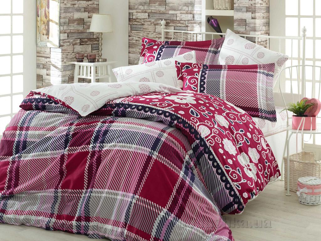 Постельное белье Hobby Exclusive Sateen Monica бордовое Двуспальный евро комплект  Hobby