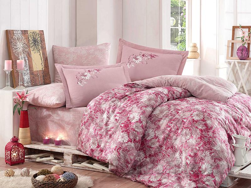 Постельное белье Hobby Exclusive Sateen Romina розовое Двуспальный евро комплект  Hobby