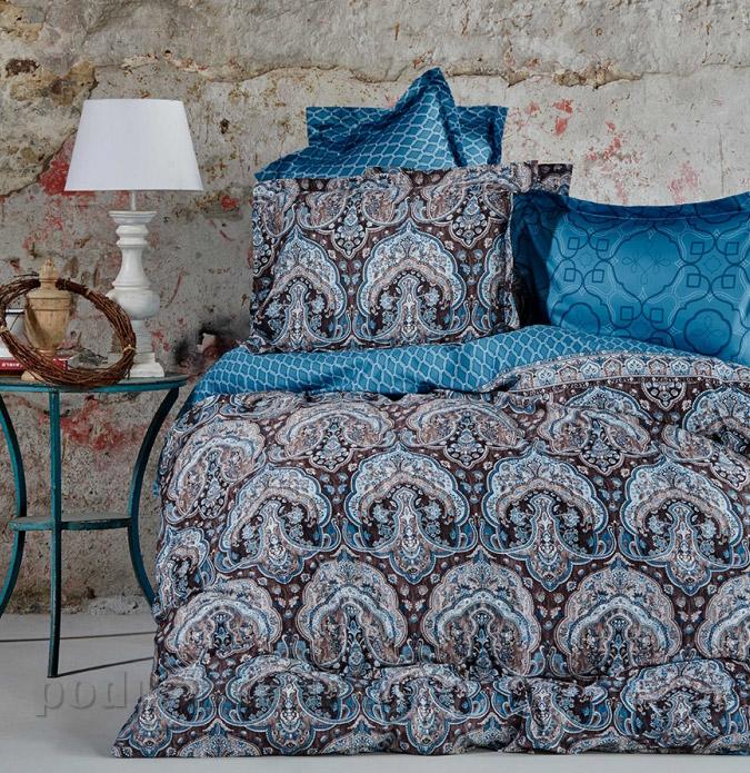 Постельное белье Karaca сатин Sahra turkuaz Двуспальный евро комплект  Karaca home