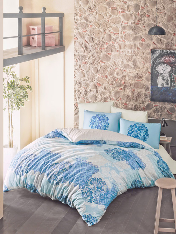 Постельное белье Luoca Patisca ранфорс Ottorino голубое