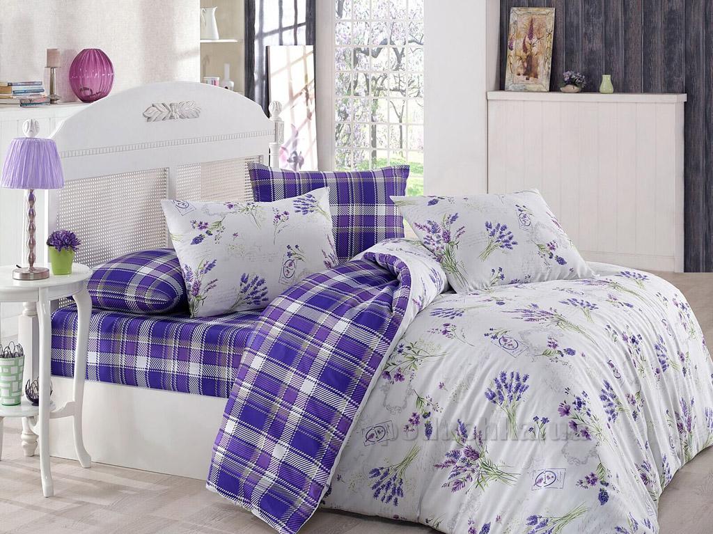 Постельное белье Marie Mex бязь Lavente фиолетовое Двуспальный евро комплект  Marie Mex