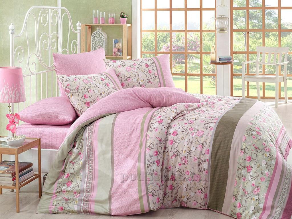 Постельное белье Marie Mex бязь Sienna розовое Двуспальный евро комплект  Marie Mex
