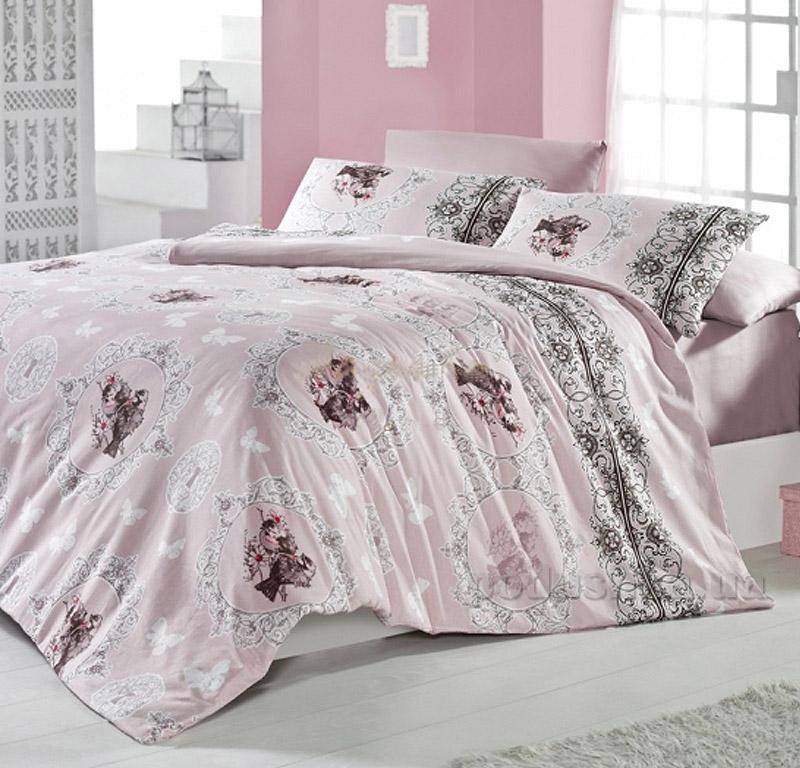 Постельное белье Nazenin Felecia ранфорс винтаж розовый 2711