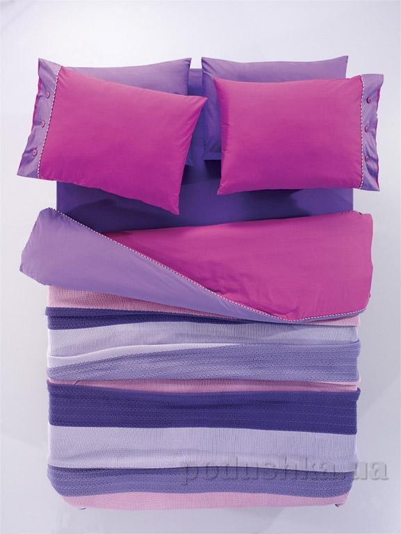 Постельное белье с пледом Amour Paris Orgu лилово-сиреневый