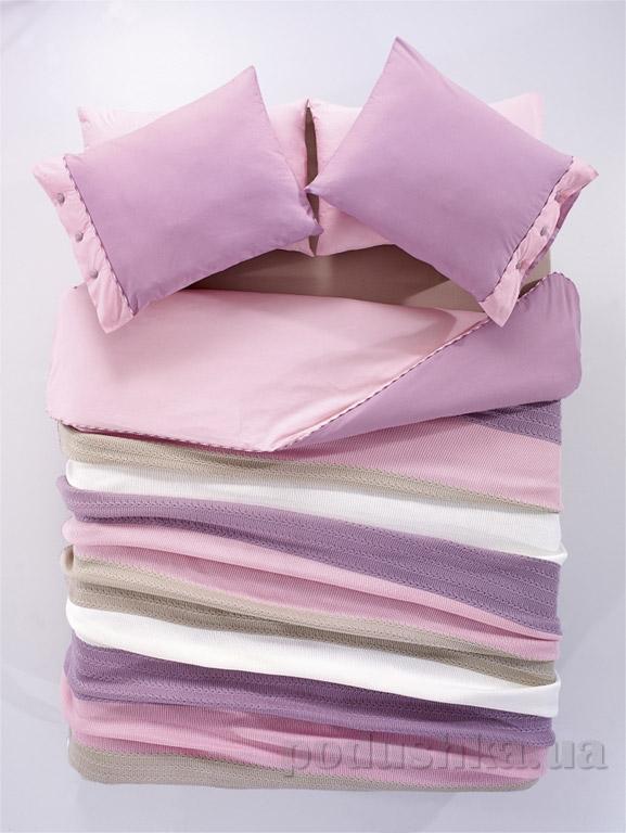 Постельное белье с пледом Amour Paris Orgu розово-сиреневое