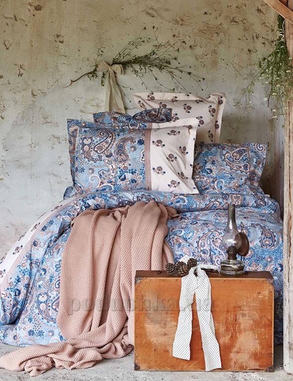 Постельное белье с пледом Karaca Mandila mavi Двуспальный евро комплект с пледом  Karaca home
