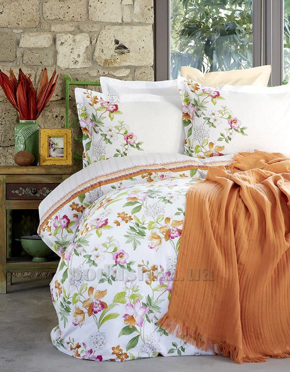 Постельное белье с пледом Karaca Paradis oranj