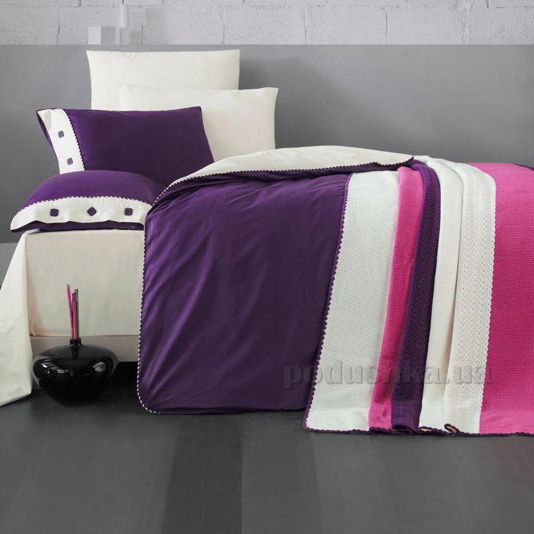 Постельное белье с пледом Luoca Patisca Juliet фиолетово-кремовое