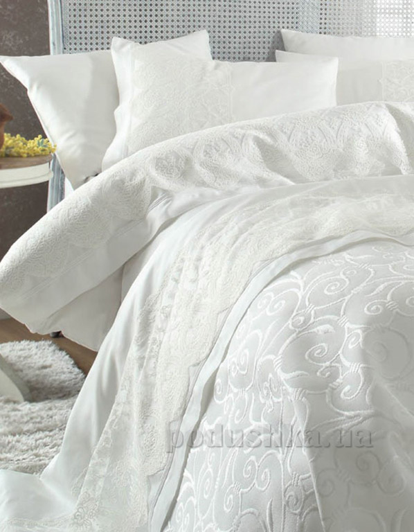 Постельное белье с покрывалом Karaca Beren krem Двуспальный евро комплект  Karaca home