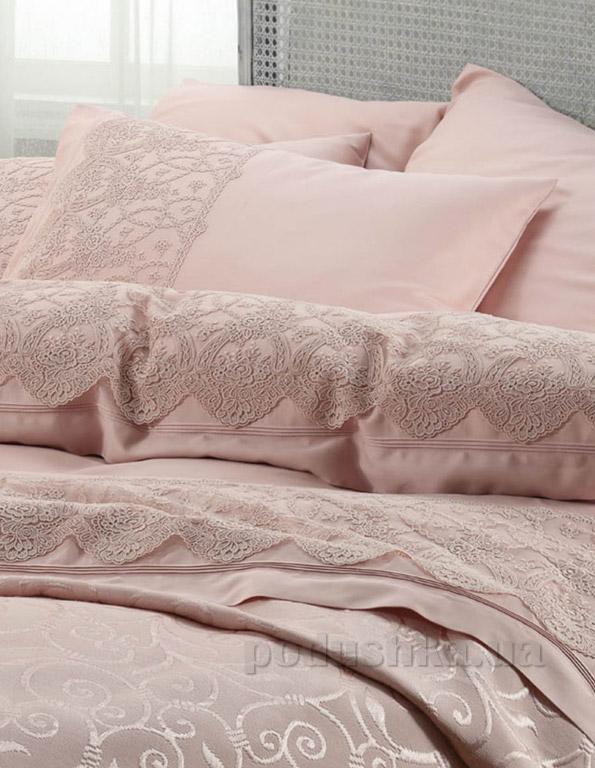 Постельное белье с покрывалом Karaca Beren pudra Двуспальный евро комплект + покрывало 240х260 см Karaca home