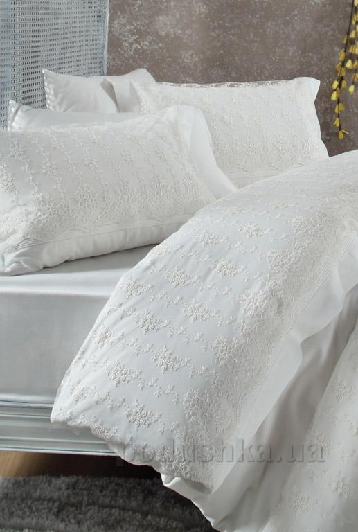 Постельное белье с покрывалом Karaca Karya krem Двуспальный евро комплект + покрывало 240х260 см Karaca home
