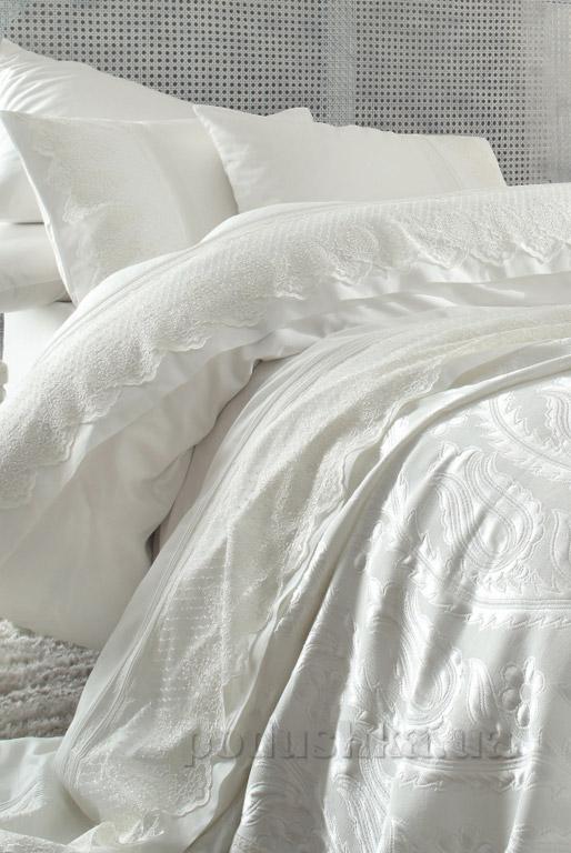 Постельное белье с покрывалом Karaca Yade krem Двуспальный евро комплект + покрывало 240х260 см Karaca home