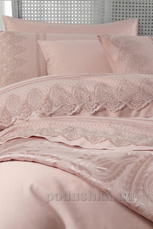 Постельное белье с покрывалом Karaca Yade pudra Двуспальный евро комплект + покрывало 240х260 см Karaca home