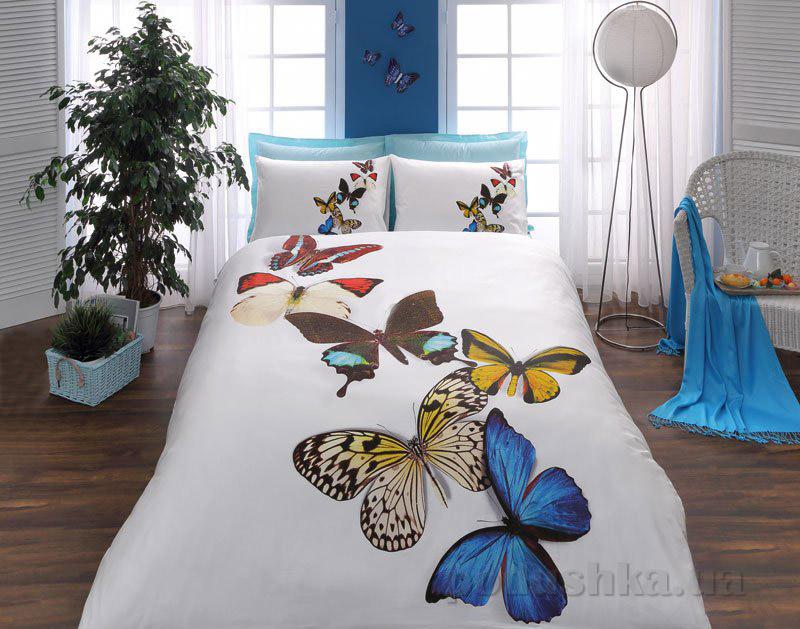Постельное белье TAC 3D Butterflies голубое