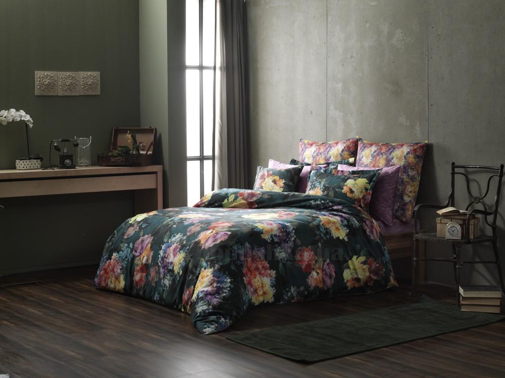 Постельное белье TAC Digital Midnight bloom V01 зелёное
