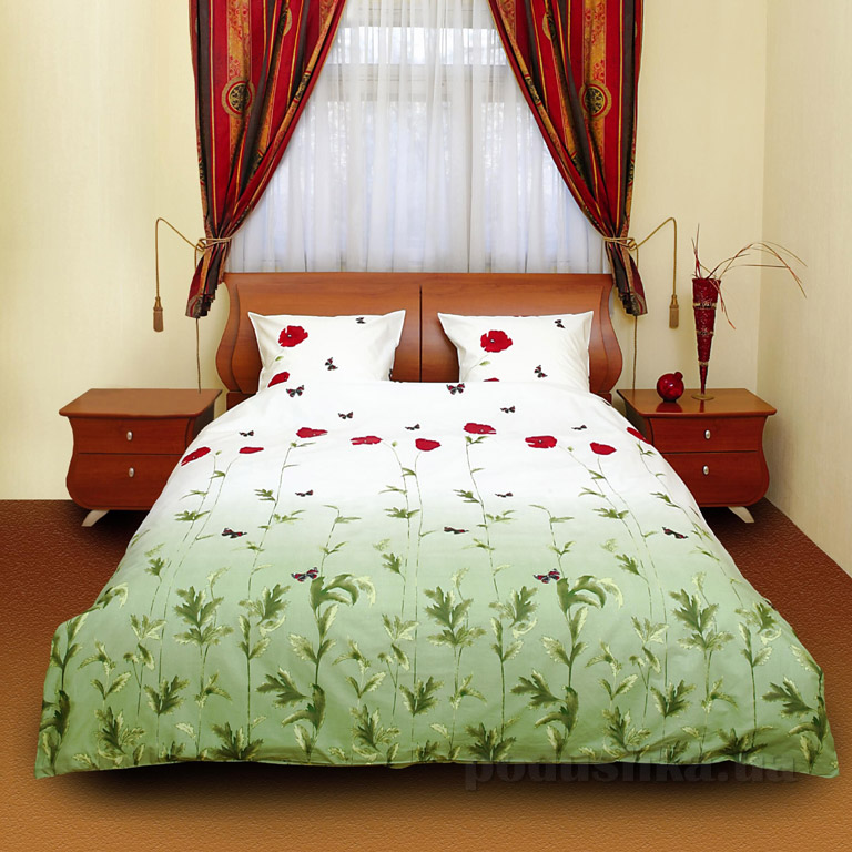 Постельное белье ТЕП Маки зеленые с бабочками 533 Двуспальный евро комплект  ТЕП