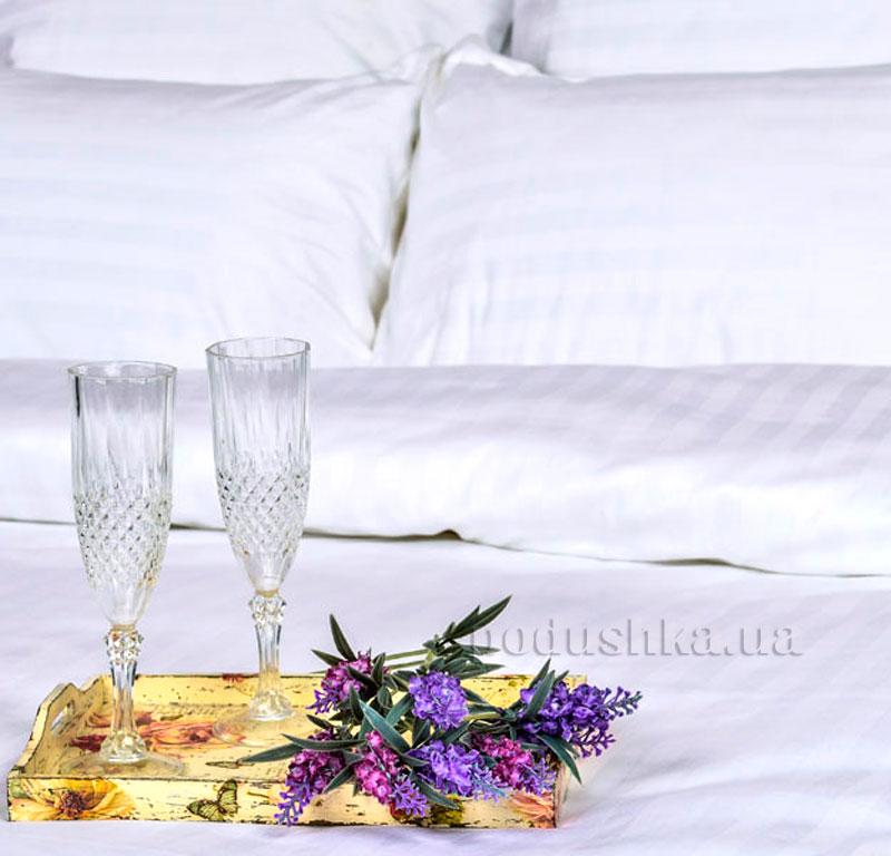 Постельное белье Украина отельное сатин-страйп белое наволочка 50х70(+5см)  Украина