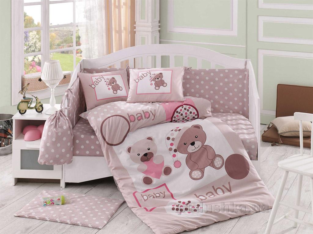Постельное белье в кроватку Hobby Sateen Ponpon бежевое