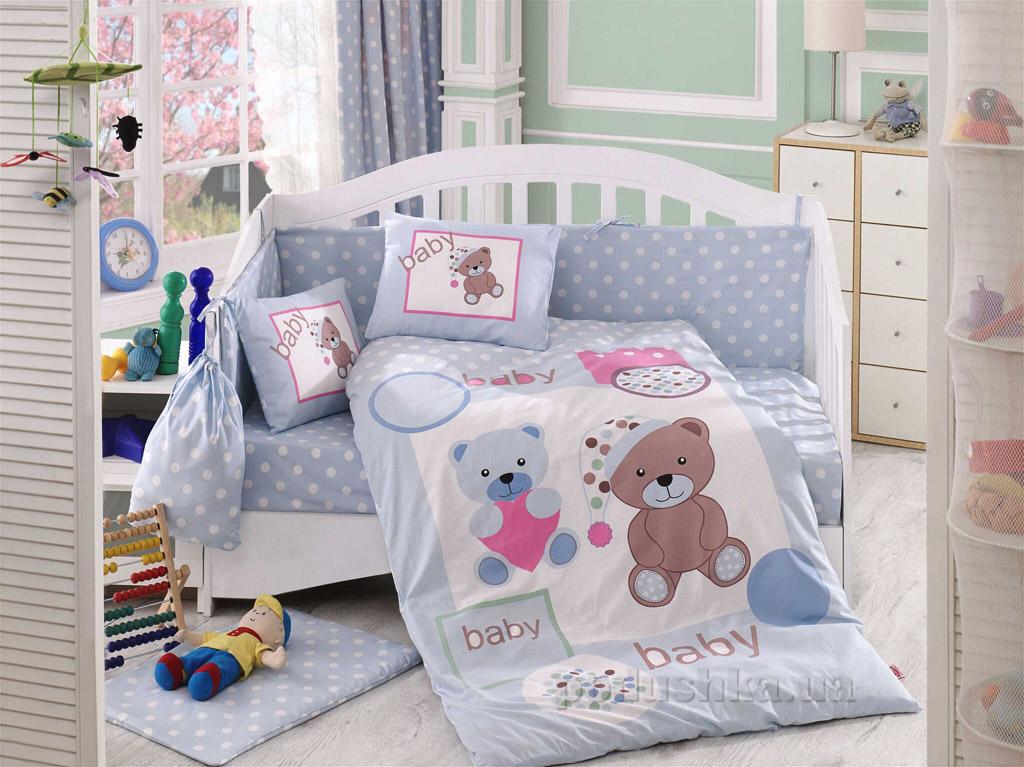 Постельное белье в кроватку Hobby Sateen Ponpon голубое