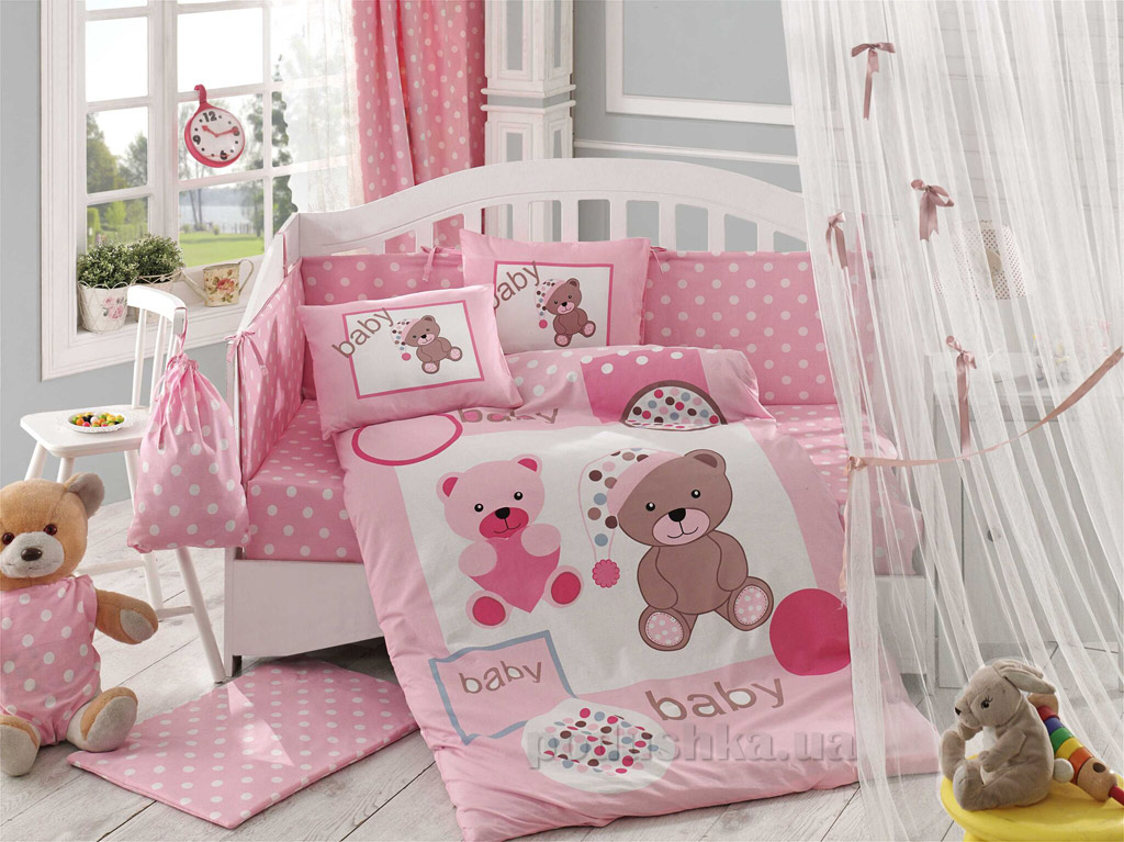 Постельное белье в кроватку Hobby Sateen Ponpon розовое