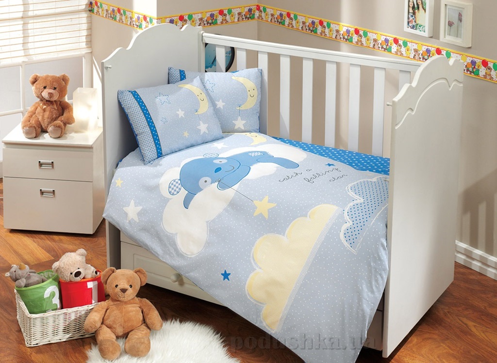 Постельное белье в кроватку Hobby Sateen Sleeper голубое