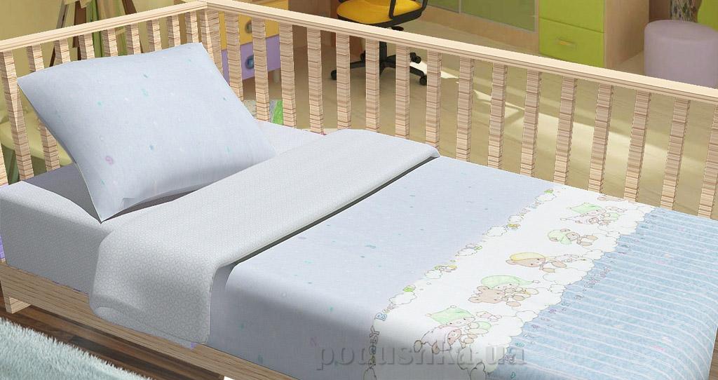 Постельное белье в кроватку KidsDreams Baby bear голубое