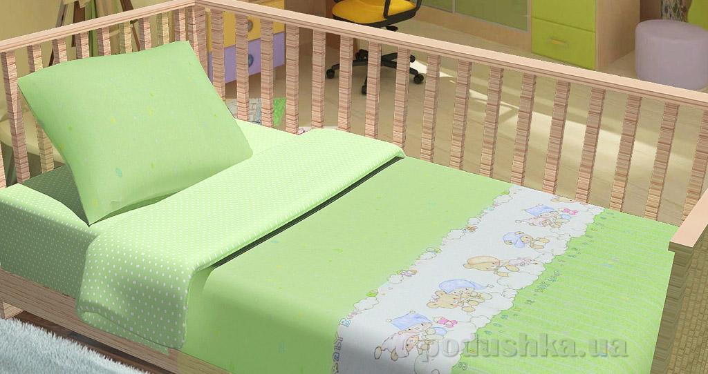 Постельное белье в кроватку KidsDreams Baby bear зелёное