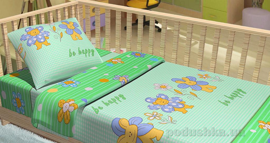 Постельное белье в кроватку KidsDreams Be happy зелёное