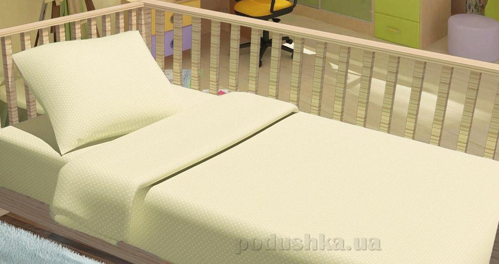 Постельное белье в кроватку KidsDreams Горошки бежевое
