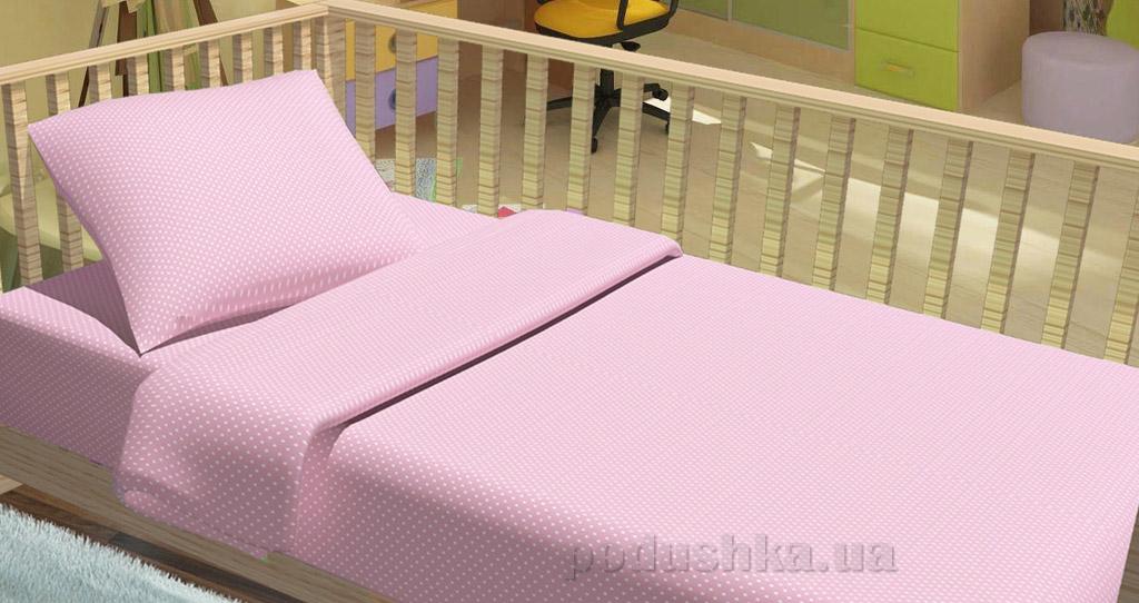 Постельное белье в кроватку KidsDreams Горошки розовое