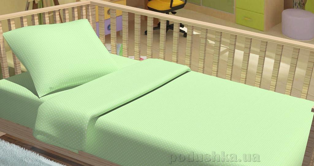 Постельное белье в кроватку KidsDreams Горошки зелёное