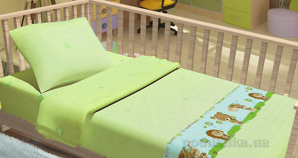 Постельное белье в кроватку KidsDreams Лесные зверушки зеленое