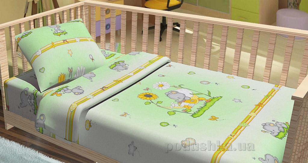 Постельное белье в кроватку KidsDreams Слоники зелёное