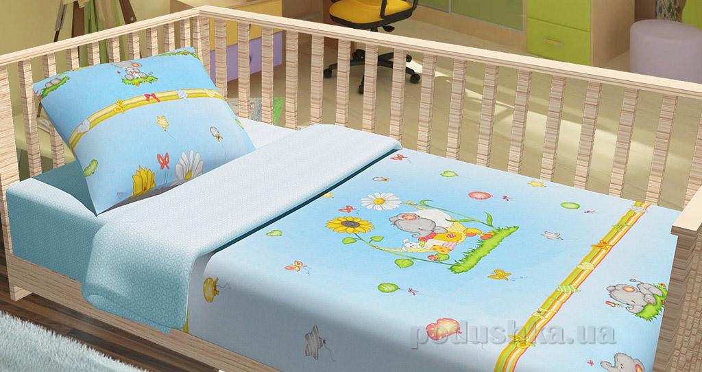 Постельное белье в кроватку KidsDreams Слоники голубое