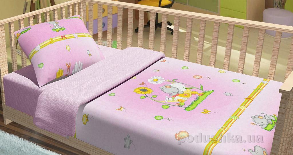 Постельное белье в кроватку KidsDreams Слоники розовое